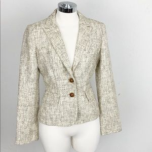 J. Crew Tweed Linen Blazer in Tans, Creams & Brown